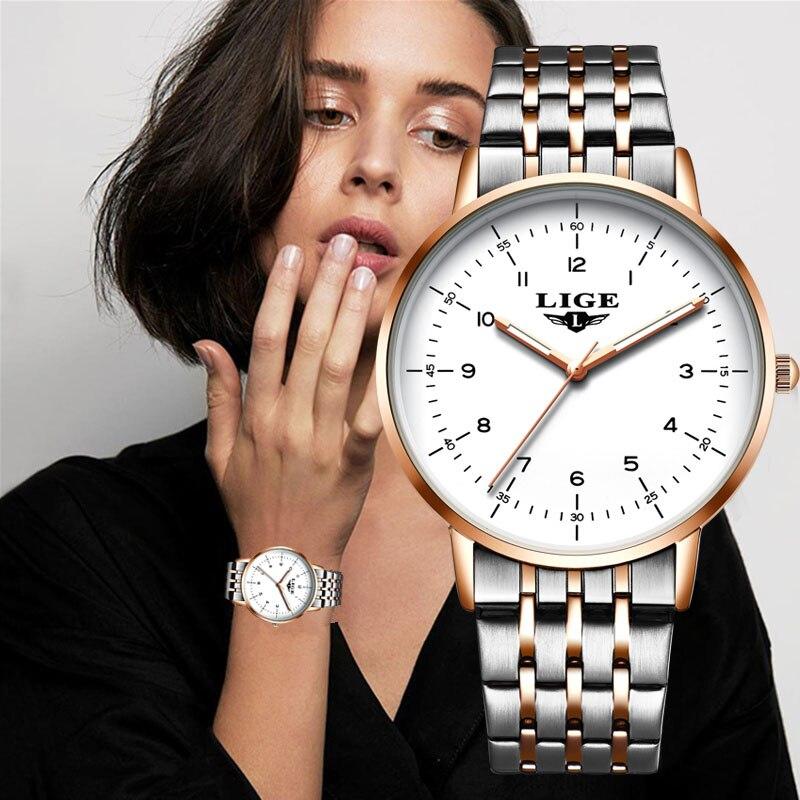 LIGE-Reloj deportivo de acero inoxidable para Mujer, Reloj de pulsera resistente al agua con diamantes y caja