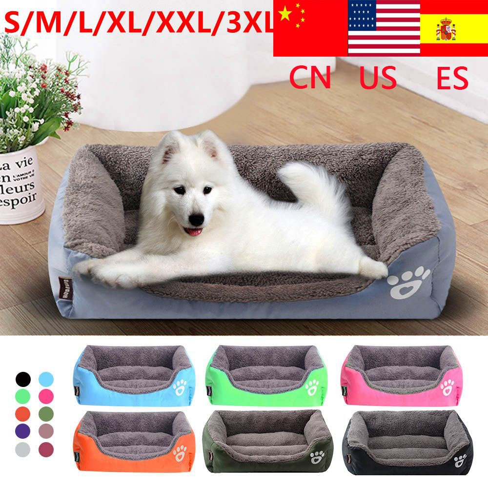 S-3XL sofá de 9 colores camas de mascotas para perros Fondo impermeable Cama de Gato cálida de lana suave Casa de perros grandes Fondo impermeable de Casa de mascotas