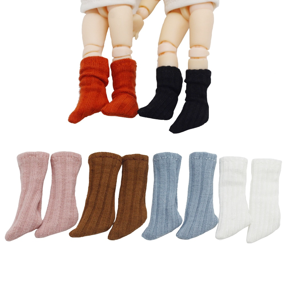 Wholesale 1Pairs Candy Color Doll Solid Sock ob11 Short Socks for Doll Shoes Socks Accessories  fit 1/12 Bjd,obitsu, ob11, Molly недорого