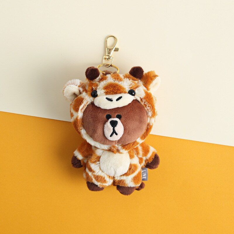 Cartoon Brown Bear Dinosaur Bear Giraffe Key chain Women Bag Pendant keychains Childrens backpack Hanging Plush Doll key Ring