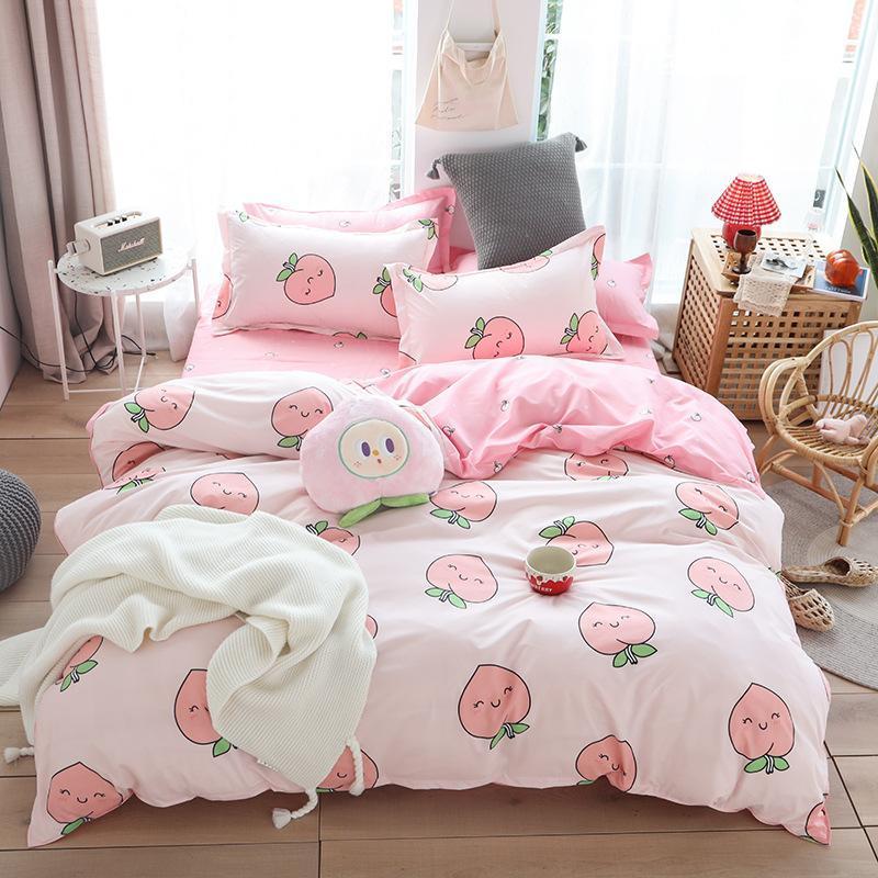 50Cute bed linens peach print Home textile bedding luxury fruit duvet cover set sheet bedclothes 3/4pcs girls gift