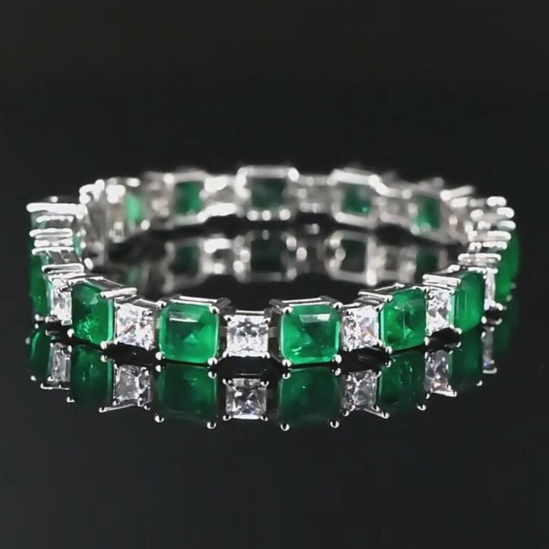 OEVAS 100% 925 Sterling Square Synthetic Emerald High Carbon Diamond Bridal Bracelet Sparkling Wedding Party Fine Jewelry Gifts
