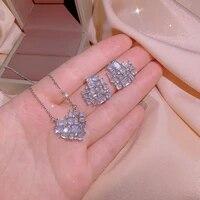 luxury heart aaaa zircon necklace earrings high jewelry women jewelry set gift white rhinestone heart pendant earrings necklace