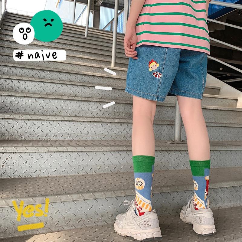 Verão feminino bonito menina bordado shorts jovem estudante macio irmã denim shorts solto ulzzang shorts estilo preppy