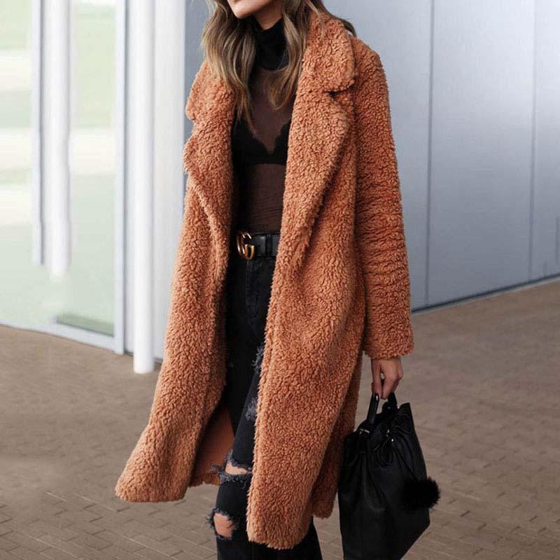 2020 Autumn Long Winter Coat Woman Faux Fur Coat Women Warm Ladies Fur Teddy Jacket Female Plush Teddy Coat Plus Size Outwear