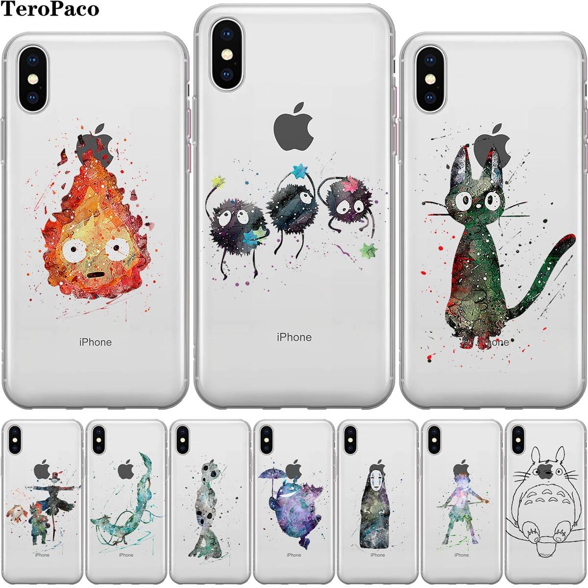 Para iPhone Funda X Caso A Viagem de Chihiro Miyazaki Totoro Para Iphone 5S SE 6 6S 7 8 Plus X XS 11 Pro Max XR Silicone Suave Caso Capa