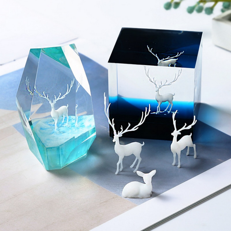 3D Mini Deer Stuff Miniature Craft Elk Charms Handmade Jewelry DIY Epoxy Resin Pendant Fillings Accessory