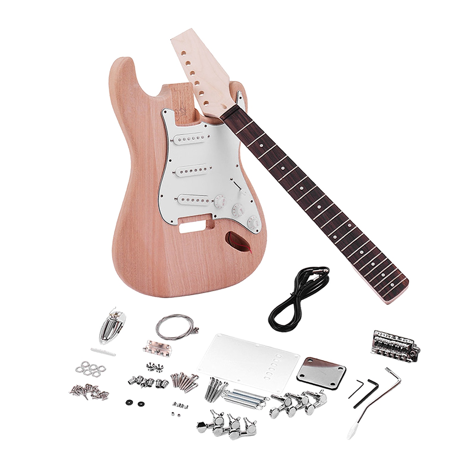 Unfinished DIY Electric Guitar Kit Mahogany Wooden Replacements Parts for ST Style Guitar Lovers Gift enlarge