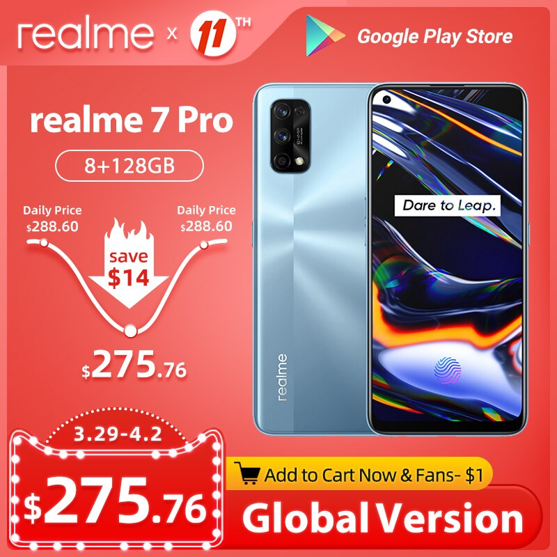 realme 7 Pro Global Version 8GB 128GB 65W SuperDart Charge 64MP Quad Camera AMOLED Fullscreen In-display Fingerprint Smartphone