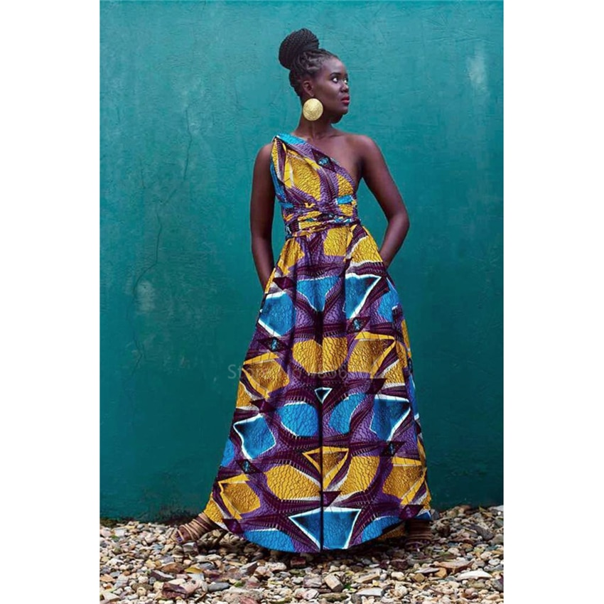 Conjunto de ropa africana para mujer, Pantalones estampados, monos, vestido Sexy, nuevos pantalones de pierna ancha, monos, vestido Danshiki para Festival en la espalda