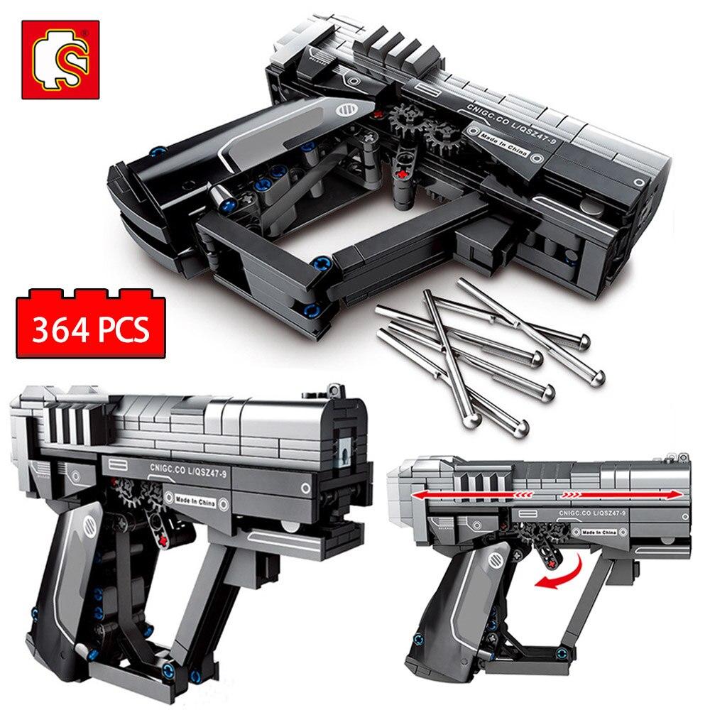 Sembo cidade polícia pistola modelo blocos de construção técnica arma blocos bala figuras tijolos brinquedos educativos para crianças
