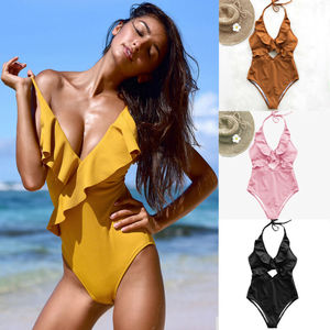 New 2020 Womens Backless One-Piece Ruffles  Bikini Monokini Push Up Padded Swimsuit Swimwear