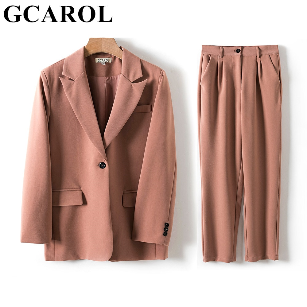 GCAROL Women Blazer And Guard Pants Sets Two Pieces OL Single Breasted Jacket Formal Suit Pleated Trousers Spring Autumn