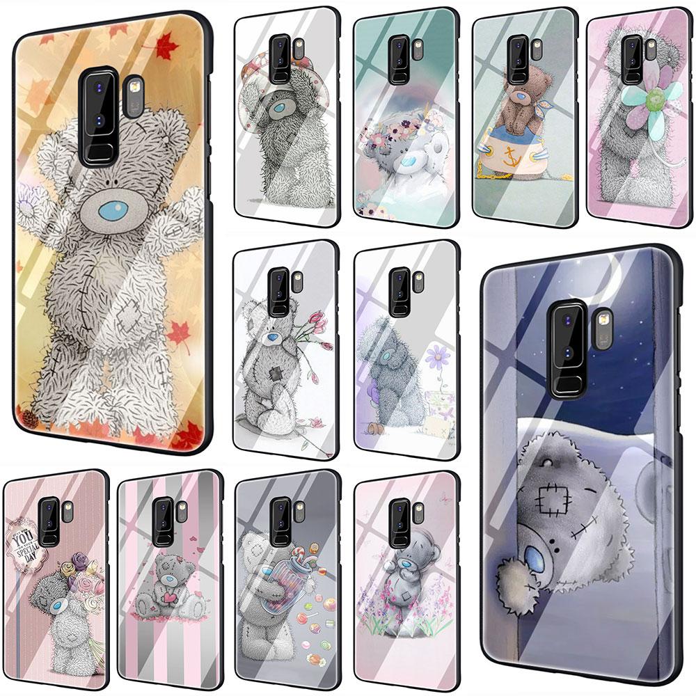 Милые Teddy Me To You Bear закаленное Стекло Телефон чехол для Galaxy S7 edge S8 9 10 Plus, Note 8, 9, 10, A10 20 30 40 50 60 70