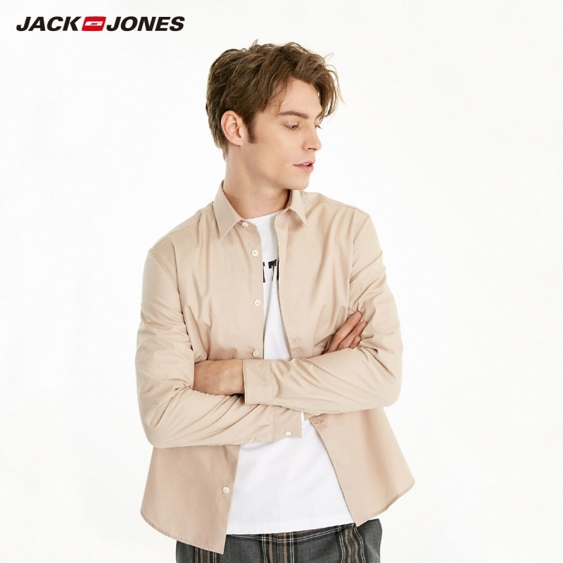 JackJones Men's 100% Basic Cotton Business-casual Shirt Menswear 219105506