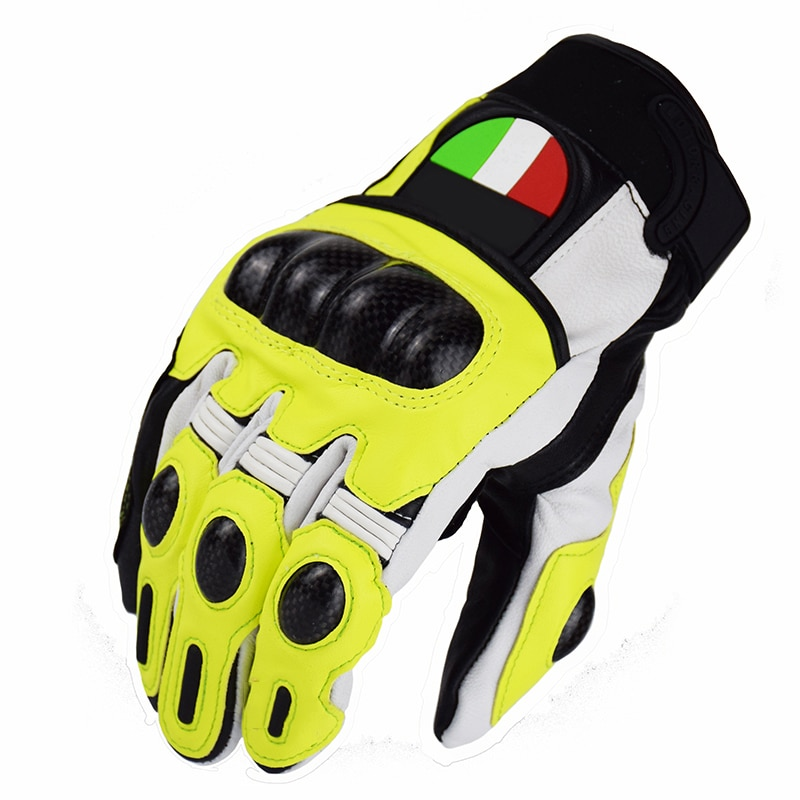 De guantes de cuero para motocicleta bicicleta MTB bicicleta MX Off-road Moto guantes amarillo