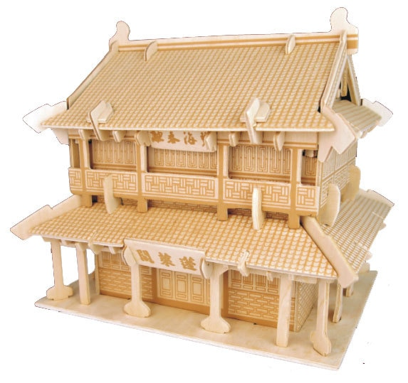 Penglai Pavilion producto genuino rompecabezas cuádruple rompecabezas al por mayor 3D madera modelo arquitectura juguete