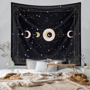 Witchcraft Astrology SunMoon Mandala Tapestry Wall Hanging Bedroom Home Decor Large Celestial Galaxy Psychedelic Tapestry Fabric