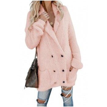 Caliente Fuzzy doble Breasted invierno nuevo medio-longitud Cardigan suéter para mujeres chaqueta de manga larga gruesa abrigo