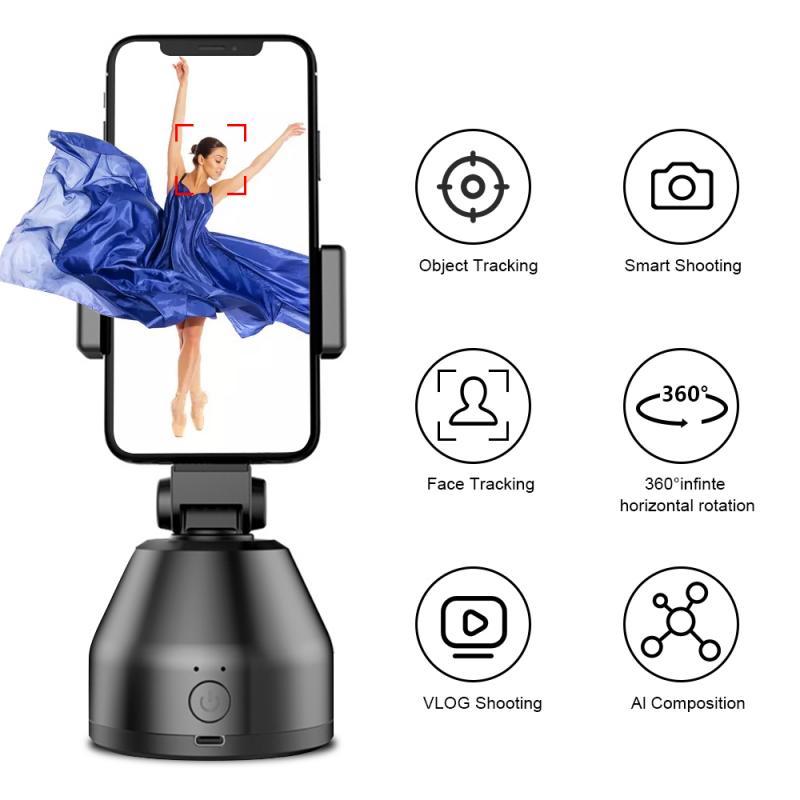 360 rotación automática disparando teléfono palos Selfie Smartphone cara de trípode de cámara cardán estabilizar