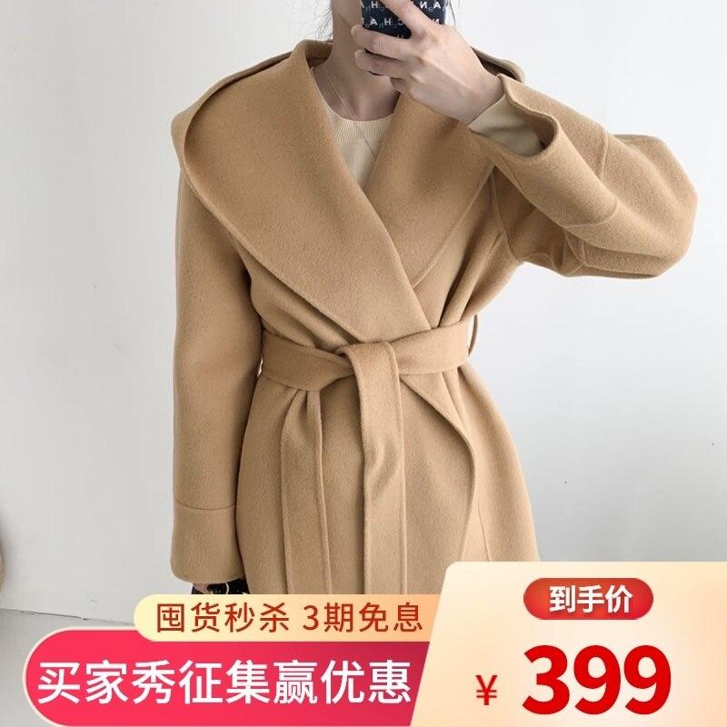 شتاء 2021 كوريا الجنوبية فضفاضة اليد مخيط على الوجهين معطف من قماش الكشمير المرأة الصغيرة مقنعين سترة صوفية الدانتيل يصل