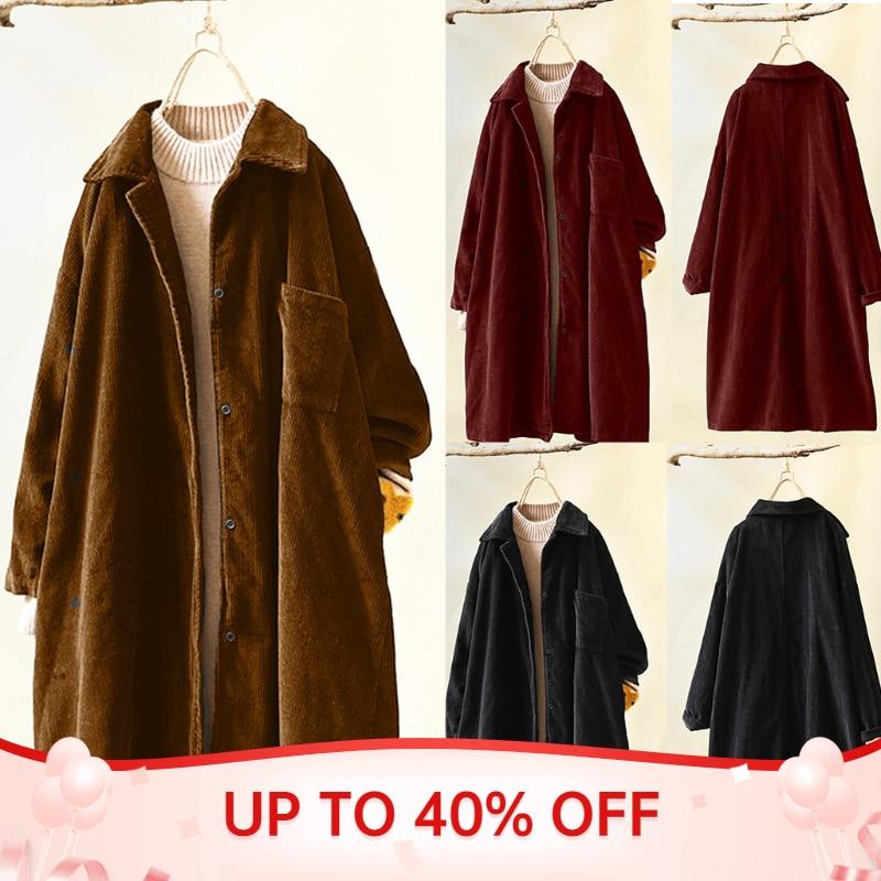 الشتاء النساء سترة عادية بلون زر فضفاض كبير الحجم سروال قصير جاكيتات السيدات زر كم طويل Coats معاطف