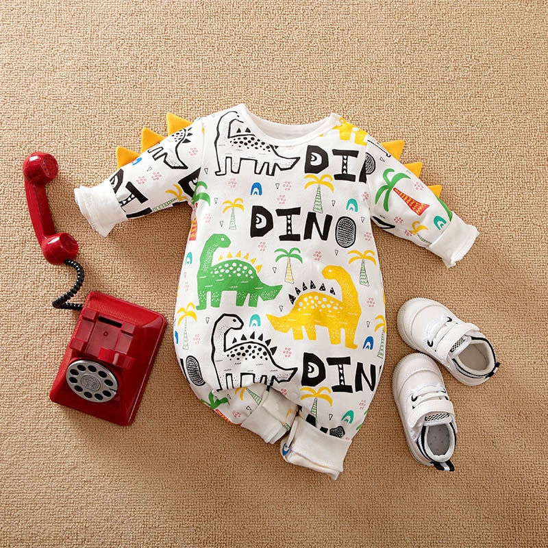 Baby Dinosaur Costume Jumpsuit for Kids Organic Baby's Rompers Cartoon Cute Pullover Baby Boy Clothe
