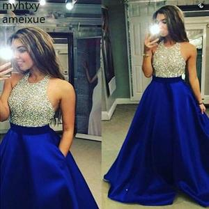 New Royal Blue Plus Size Custom Evening Dresses Long 2020 Shiny Beaded Gown Robe De Soiree Abiye Formal Dress Party Event Dress