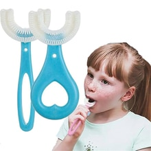 Kids Toothbrush U-Shape Infant Toothbrush with Handle Silicone Oral Care Cleaning Brush for Toddlers