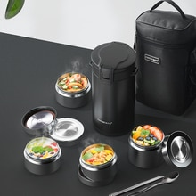 Stainless Steel Lunch Box Leak-Proof Portable Business School Insulated Multi-layer Tableware Hot Fo