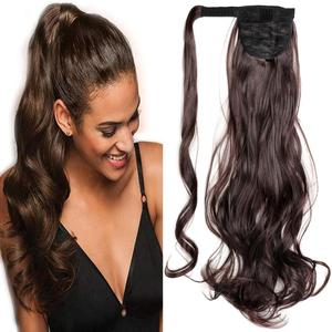 Mtmei Hair Long Wavy Ponytail Wrap Around Ponytail Clip in Hair Extensions Synthetic Pony Tail Hairpiece Black Brown Blonde