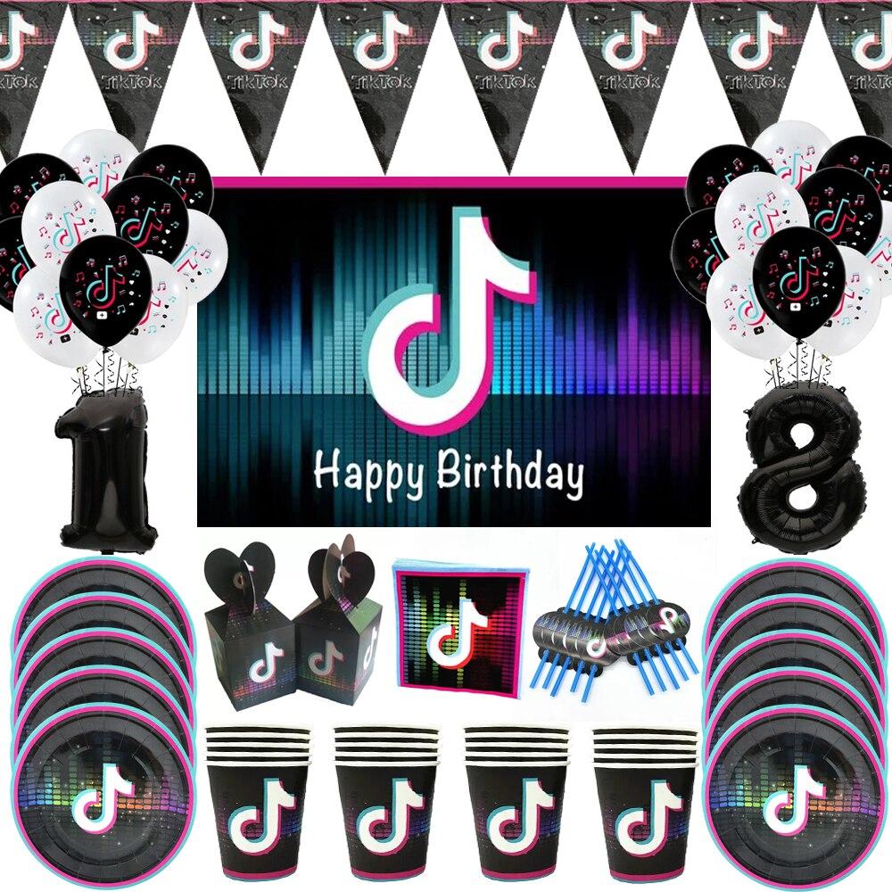 товары для праздника Tik Video, украшения для дня рождения, шары, детская одноразовая посуда, скатерть, товары для детского праздника