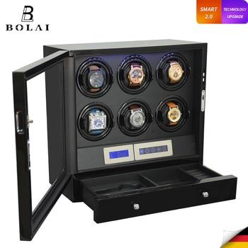 Automatic Watch Winder 6 Slot Watches Safe Box Drawer Store Jewelry Quiet Japanese Mabuchi Motor Watch Storage Winding Boxes
