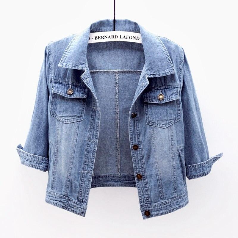 Корейская мода, стильные осенние синие узкие джинсовые куртки женские большие размеры Студенческая одежда с рукавом «три четверти» коротк...