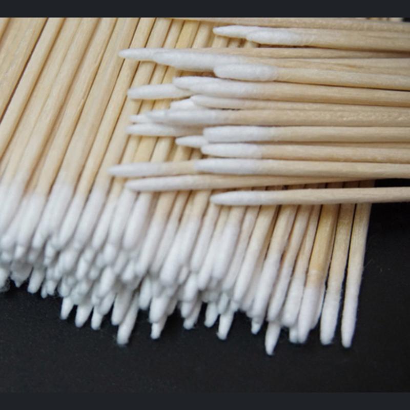 Деревянные ватные палочки, косметика для перманентного макияжа, для медицинского ухода, для ушей, ювелирных изделий, чистящих палочек, ватные палочки, 100/300 шт.