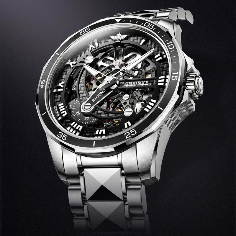 OUPINKE الفاخرة الرجال ساعة اليد الميكانيكية الياقوت التلقائي ساعة الرجال الكلاسيكية الهيكل العظمي الفولاذ المقاوم للصدأ مقاوم للماء 3178