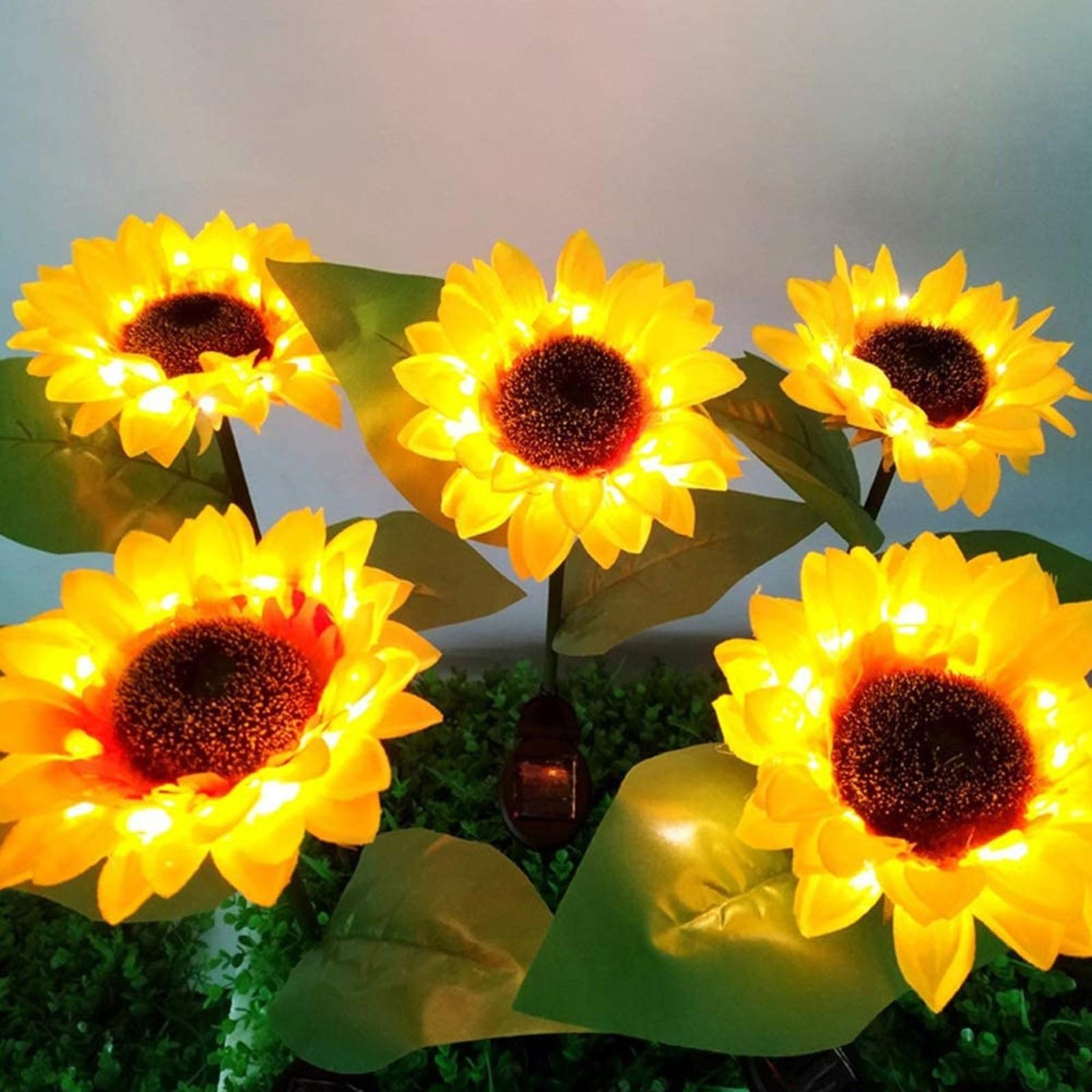 Luz Solar de girasol para exteriores, lámpara Led Solar de jardín y...