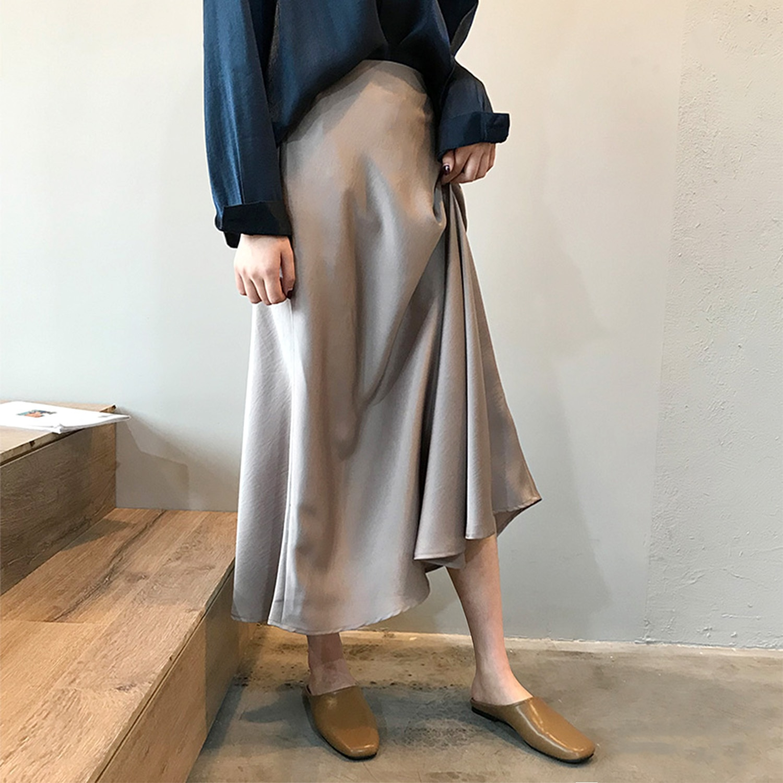Autumn New Satin High Waist Bust Hip Retro Fishtail Skirt