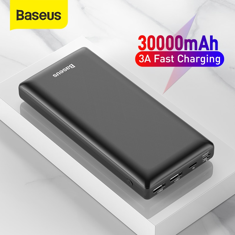 Baseus Power Bank 30000mAh USB C Fast Charging Powerbank Portable External Battery Charger For iPhon