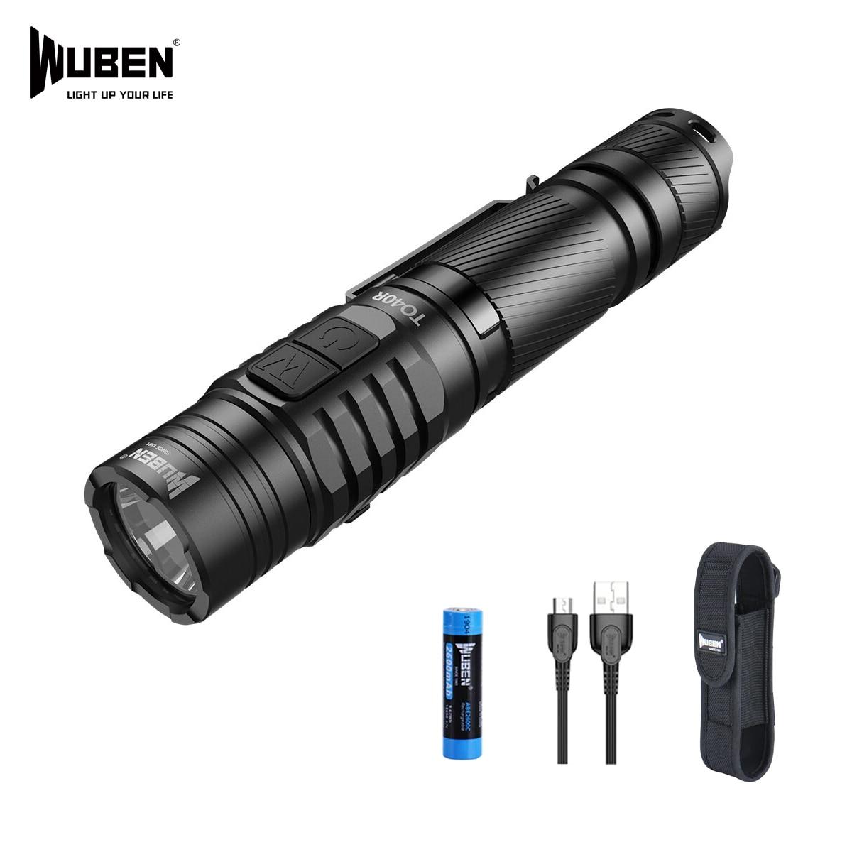 wuben to40r tatico lanterna led 1200 lumens 720 ft distancia maxima do feixe 18650