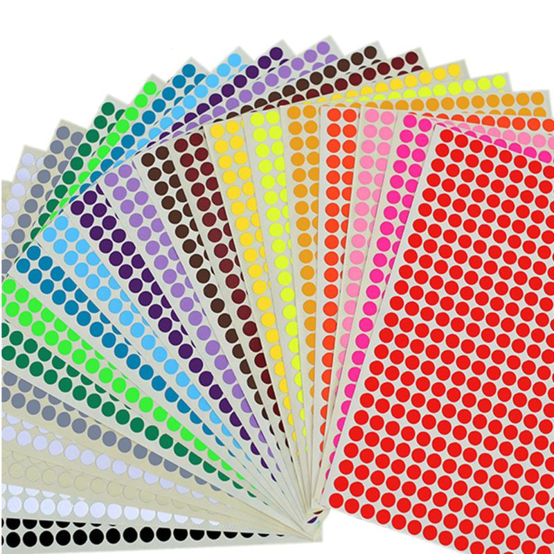 20 hojas redondas de colores pegatinas de puntos círculo Etiqueta de papel adhesivo autoadhesivo puntos DIY adornos para manualidades