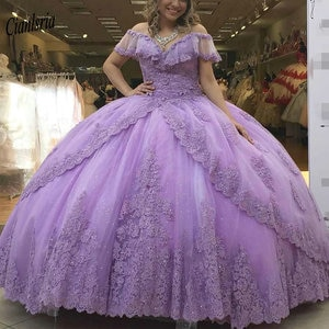 Lavender Princess Ball Gown Quinceanera Dresses Off The Shoulder Appliques Lace Beading Tiered Skirt Sweet 16 Party Dresses