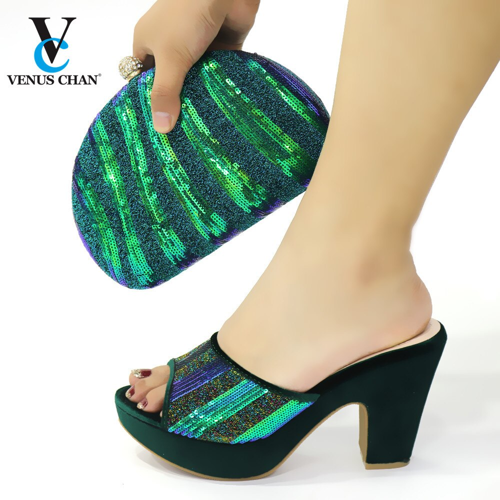 Gran oferta de zapatos de tacón alto de Color verde, conjunto de sandalias y bolsos, zapatos de tacón italianos zapatos y Bolsa DE BODA cómodos a juego