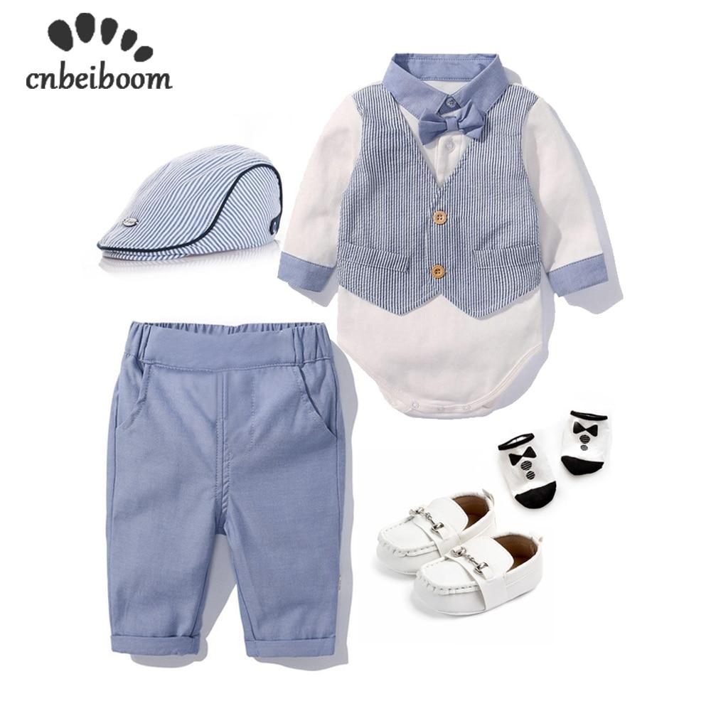High quality baby boys set Newborn clothing sets bodysuit+pants+hat+socks+shoes outfits & set gentleman gentleman birthday gift