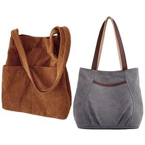 2PCS Ladies Canvas Handbag Casual Shoulder Bag Gray With Lazy Wind Corduroy Bucket Bag Brown