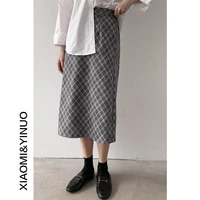 yg brand womens dress retro temperament lattice skirt 2021 new high waist medium length a line skirt umbrella skirt womens