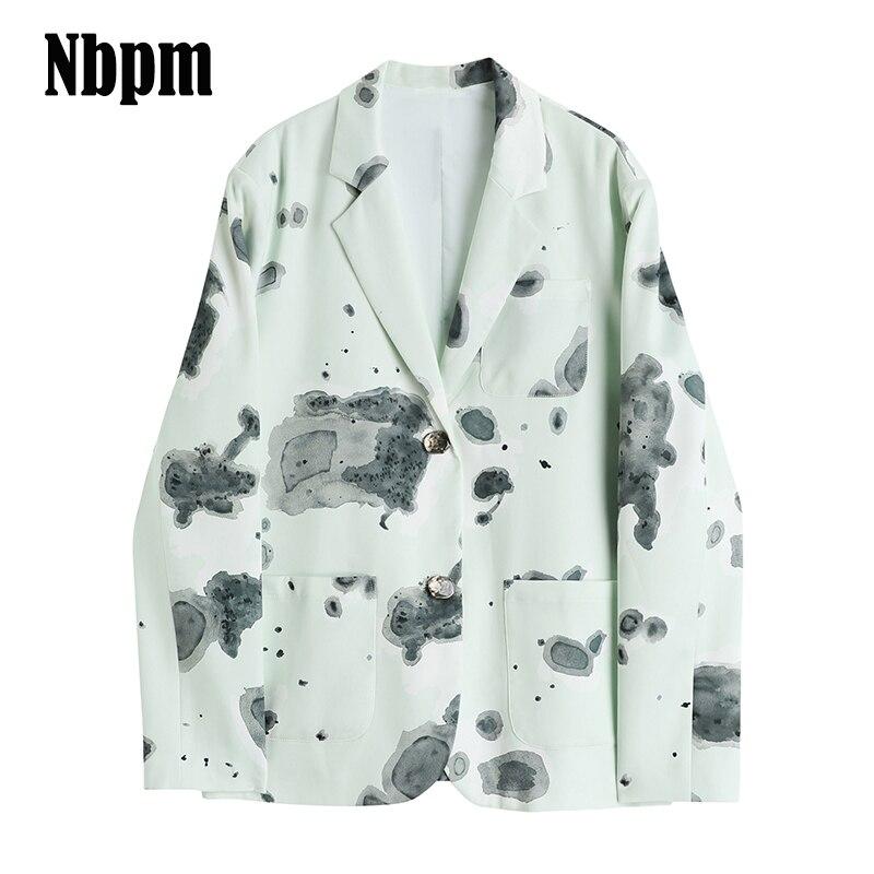 Vintage Loose Women Tie dye Blazer 2021 Autumn Single Breasted Female Long Sleeve Suit Jackets Styli