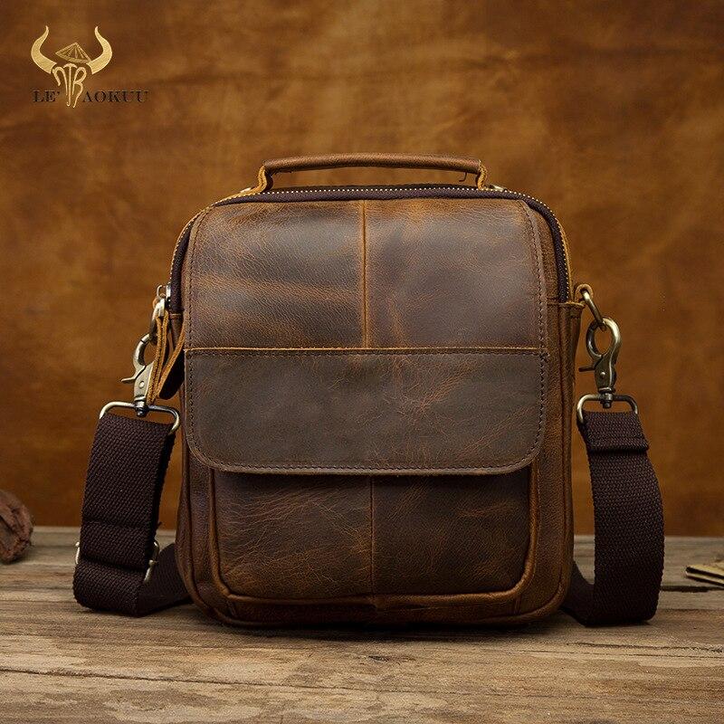 """Bandolera de hombro de piel auténtica de diseño informal para hombre, bolso cruzado de moda gris, bolso para tableta de 8 """", bolso de Mochila, bolso para hombre de 14 dB"""