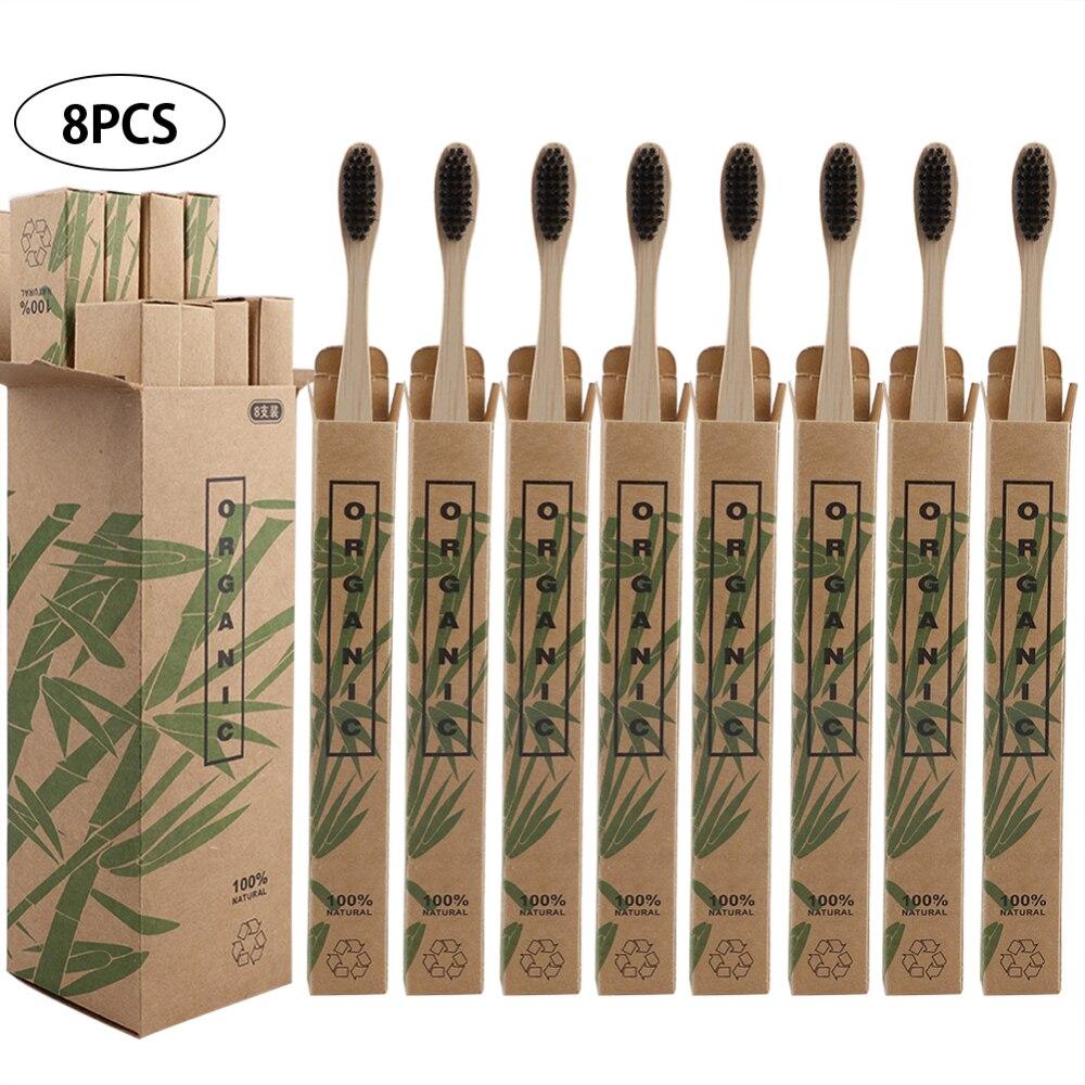 Cepillos de dientes de bambú para viaje, 8 Uds., cerdas suaves, cuidado bucal
