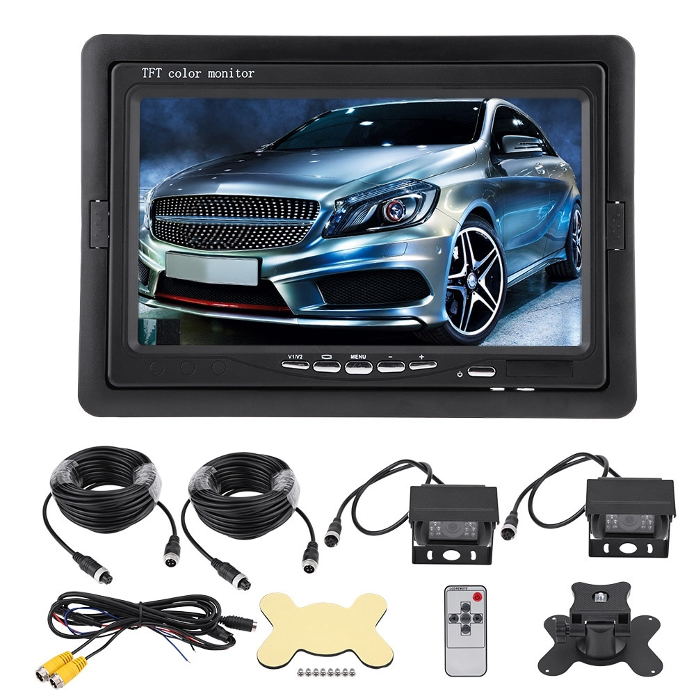 7 Inch TFT LCD Monitor Car Rear View Backup Reversing Camera Night Vision For RV Bus Truck Wired Reversing Display And Camera